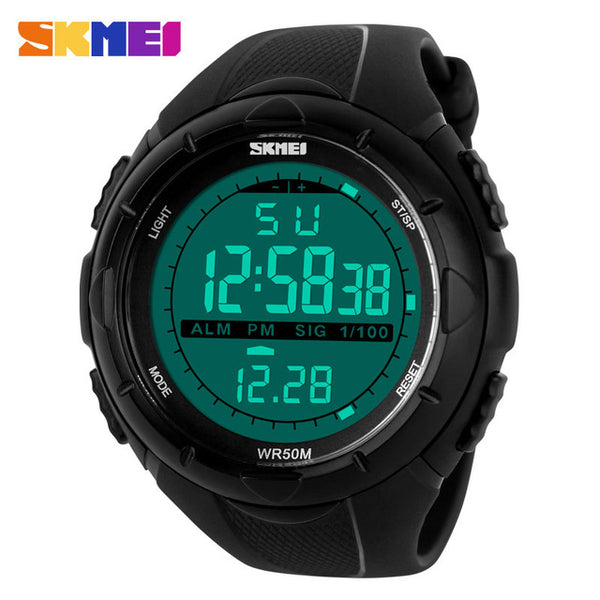 SKMEI Men Digital LED Sports Watches swim fashion casual Military Wristwatches rubber strap relogio masculino Luxury Brand 2016