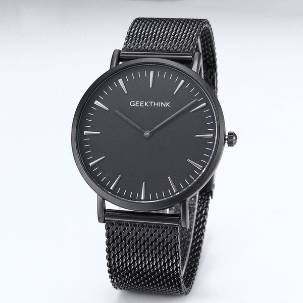 GEEKTHINK Top Luxury Brand Quartz watch men Black Casual Japan quartz-watch stainless steel Mesh strap ultra thin clock male