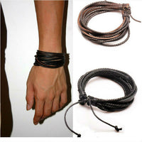 Hot Sale Wrap Genuine Leather Bracelet  Braided Rope for Men Women Fashion Jewelry Friendship Bracelet Gift Fast Shipping XCJ024