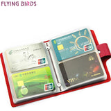FLYING BIRDS card holder bag name ID Business Card Holder bag High Quality women &men Leather 60 Bank credit Cards Case LS8981fb