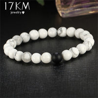 17KM 2 Color Barbell Men Buddha Bracelet Jewelry Mixed Smooth Synthetic Stone Beads yoga Fitness Fashion Energy Yoga Bracelets