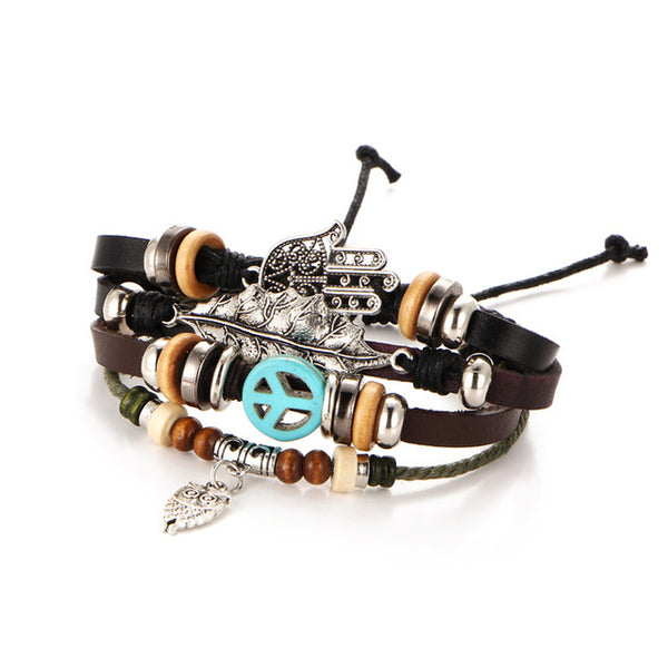 17KM Hamsa Hand Bracelets For Women Men 2017 Fashion Wristband Female Owl Leather Bracelet Leaves Vintage Punk Turkish Jewelry