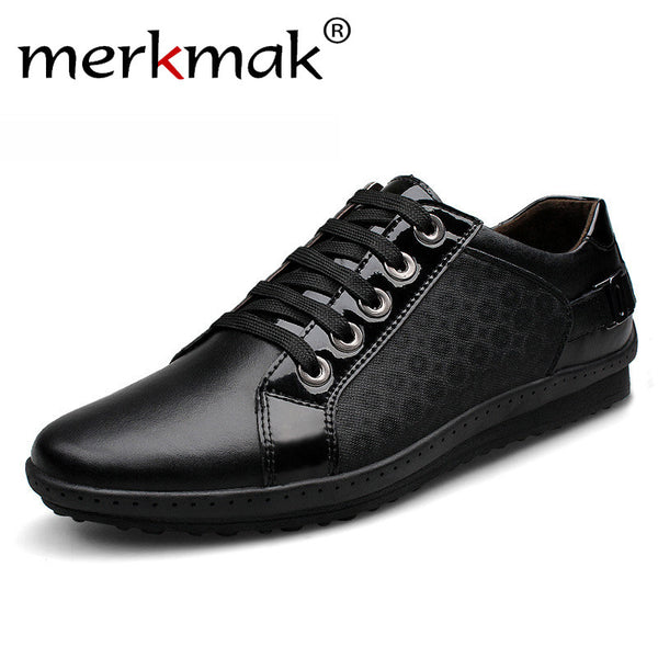 Luxury high quality men shoes mens fashion flat shoes black lace up genuine leather casual moccasins men flats brand flat shoes