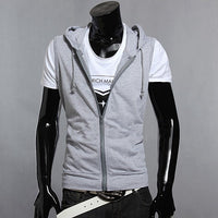 New 2017 Men Casual Slim Fit Basic Hooded Jacket Sleeveless Vest Waistcoat Zipper Hoodies Sweatshirt Tracksuits Top Black Grey