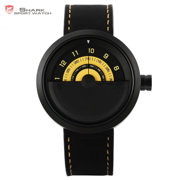Bonnethead Shark Sport Watch Yellow Men Relogio Masculino Rotate Contrast Crazy Horse Leather Wrist Creative Watches Gift /SH423