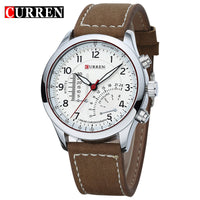 Top luxury Brand Black Men's Military Casual Dashboard Quartz Watches Leather strap Wristwatch Relogio Masculino Dress Curren