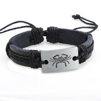 12x/lot Adjustable Leather Bracelets Round Bangle Charm Mens Cuff Jewelry