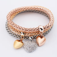 3Pcs Women Charm Pulseiras Heart Pendant Bracelet Fashion Multilayer Bracelet