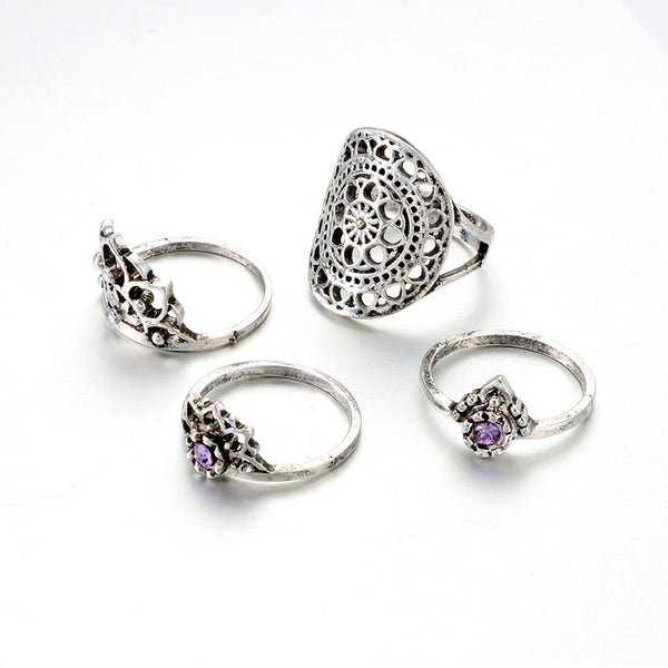 4pcs/Set Women Bohemian Vintage Silver Stack Rings Above Knuckle Blue Rings Set