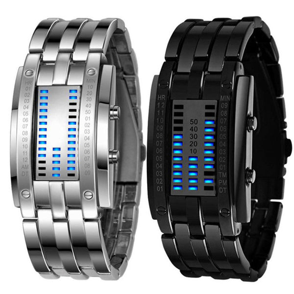 2PC Luxury Men's Stainless Steel Date Digital LED Bracelet Sport Watches