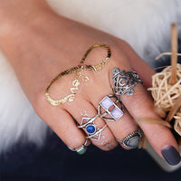 5PCS Vintage Women's Boho Crystal Flower Knuckle Ring Tibetan Turkish