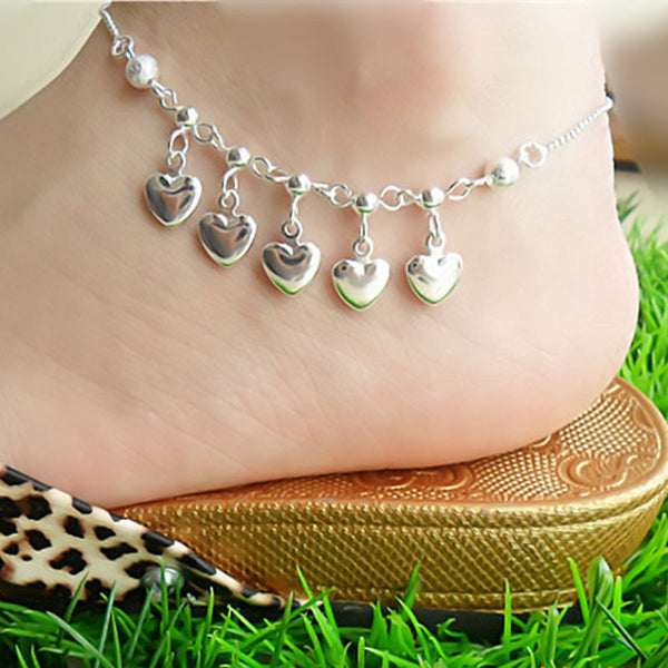 5 Hearts Women Chain Ankle Bracelet Barefoot Sandal Beach Foot Jewelry