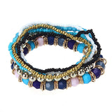7PCS/Set Women Multilayer Acrylic Beads Bangle Bracelets Beach BU