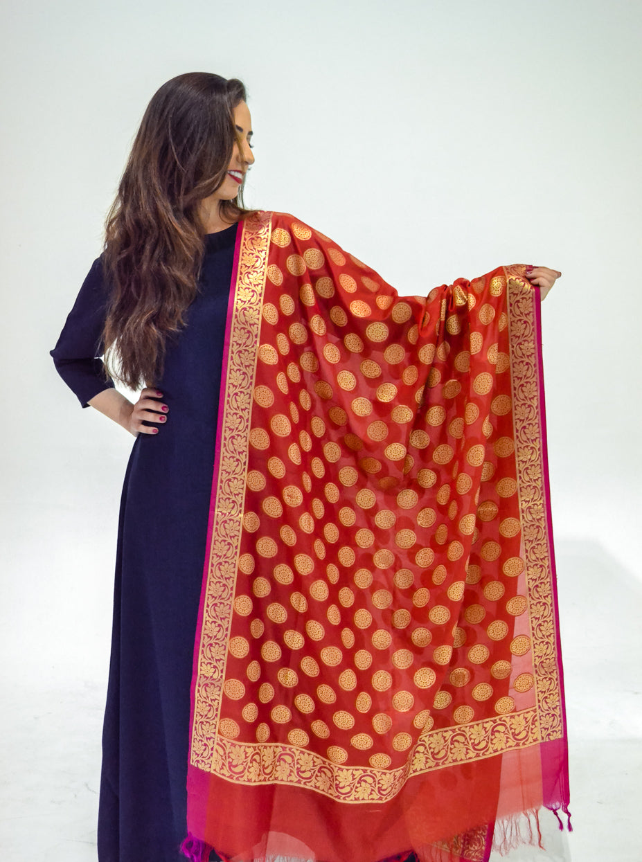 Red and Gold Silk Dupatta