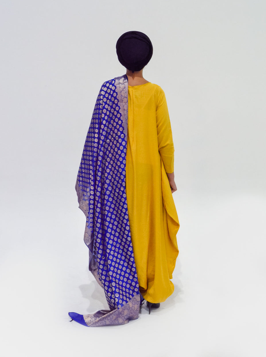 Blue and Gold Silk Dupatta