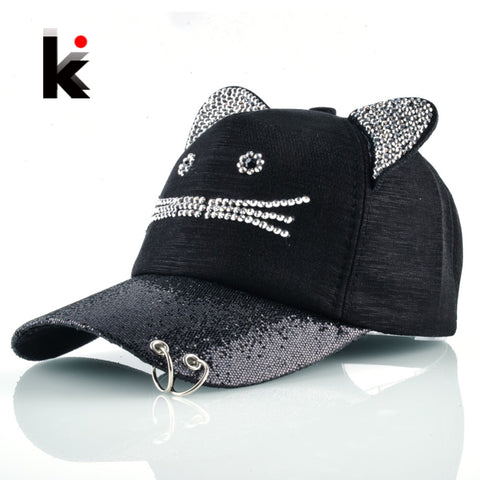 Girls Flashing Rhinestone Baseball Cap