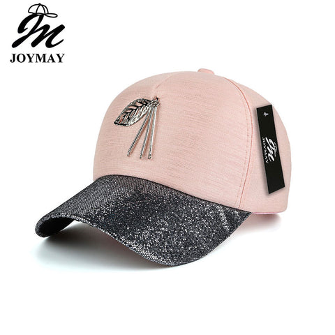 Fashion women snapback cap metal leaf  bling visor baseball cap