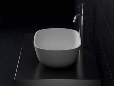 Justina STB12 600mm counter top Matte White stone basin