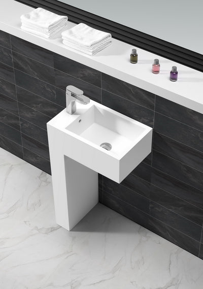 Matt White stone bath basin L shaped