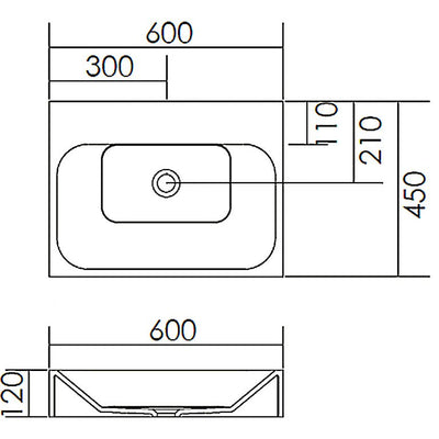 BSH-4 Solid Surface Stone Basin 600mm