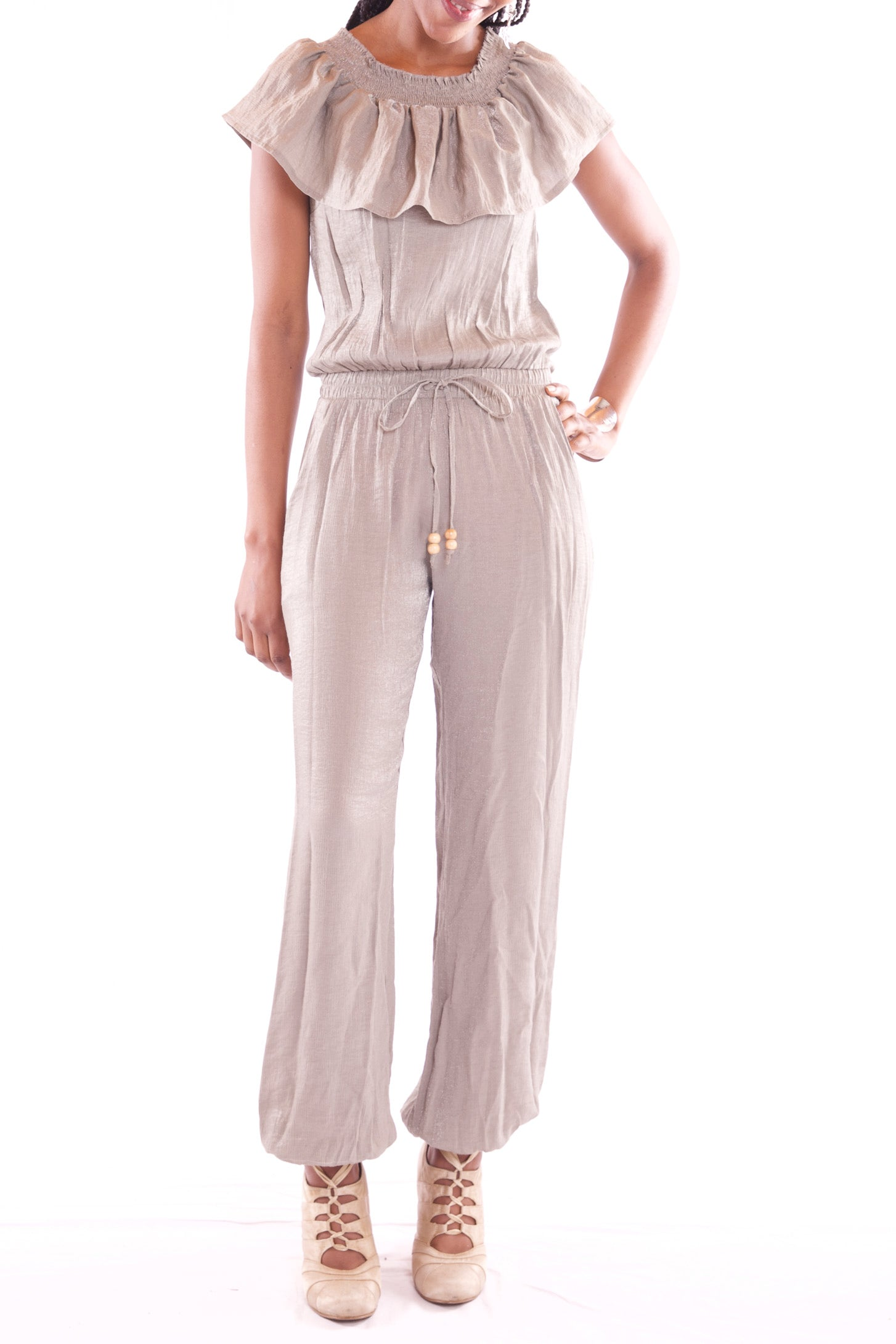 Women Round Neck Maxi Khaki Colour Jumpsuit - Hillmarten