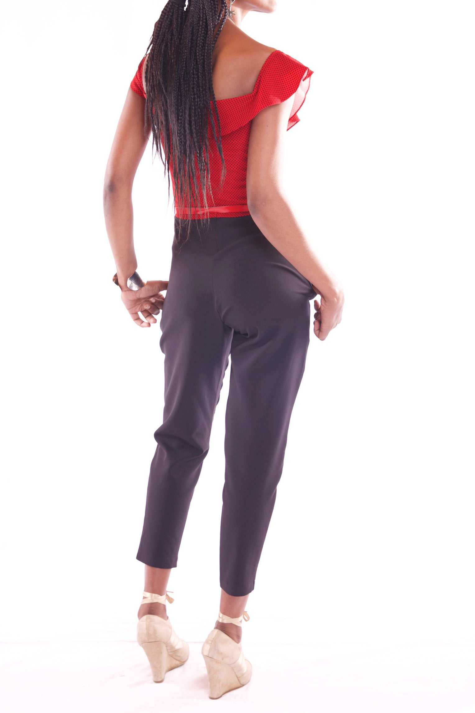 Women Sleeveless Midi Red With Black Jumpsuit - Hillmarten