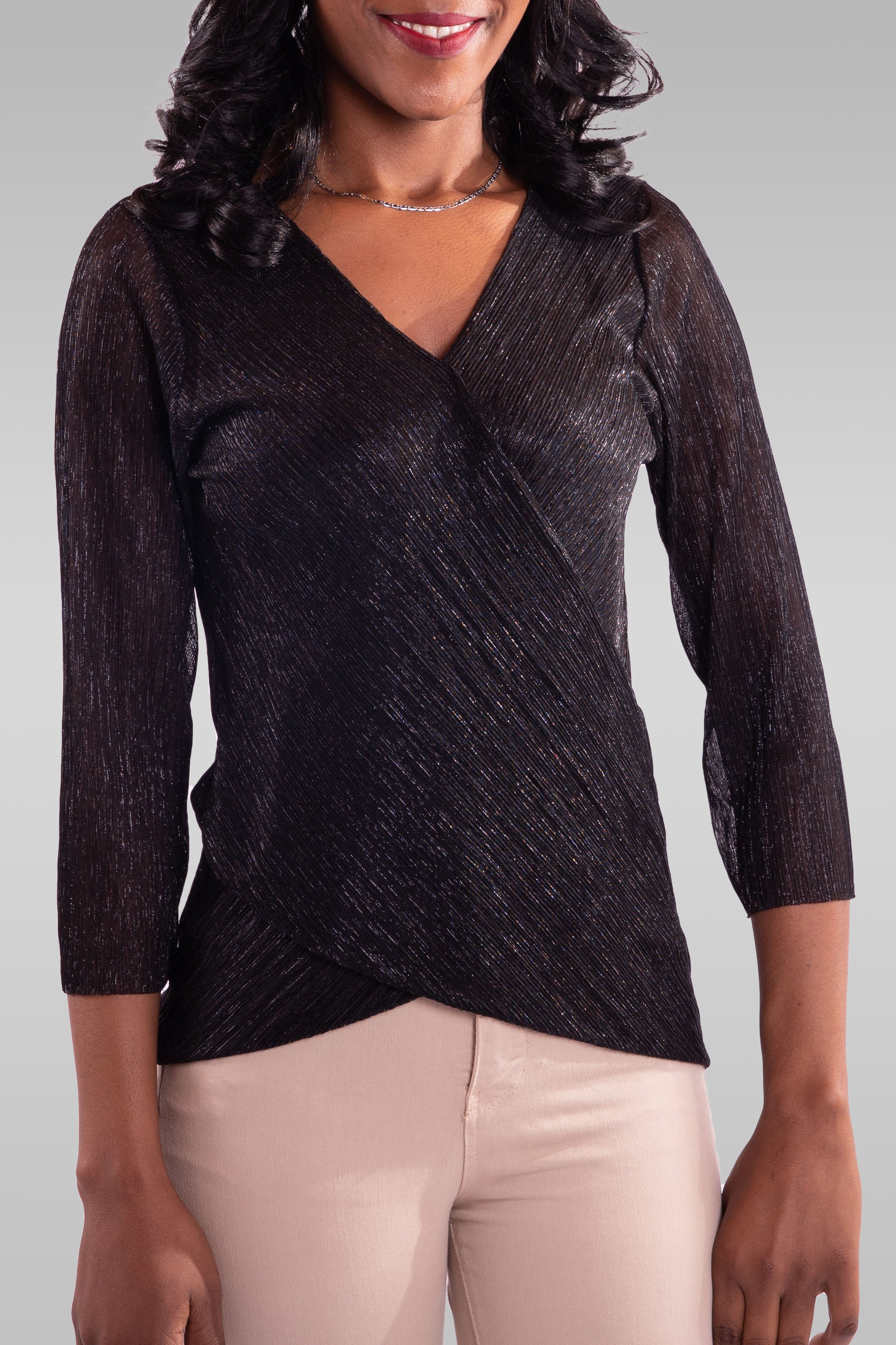 Women Long Sleeve Black Blouse - Hillmarten