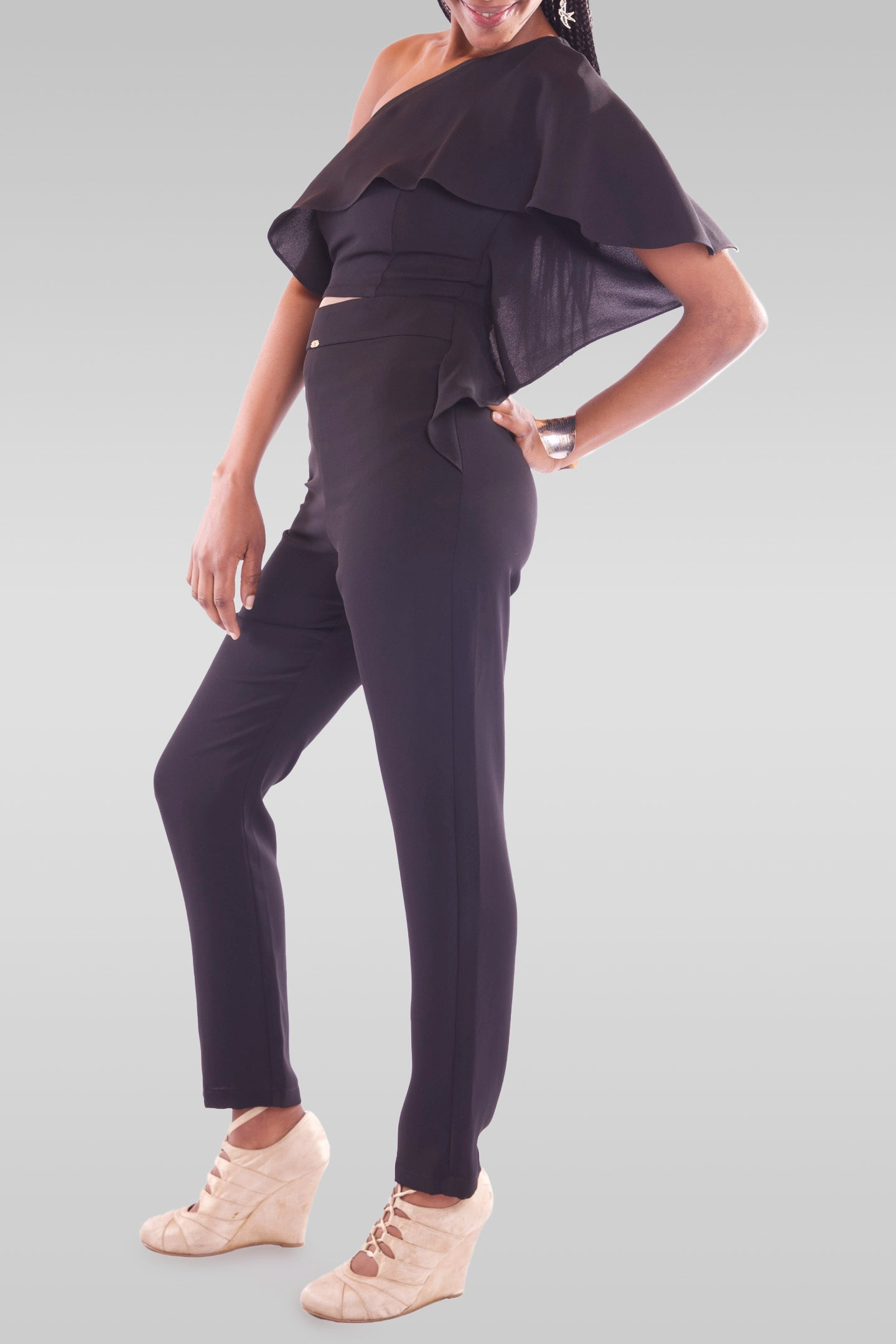 Women One Off Shoulder Maxi Black Jumpsuit - Hillmarten