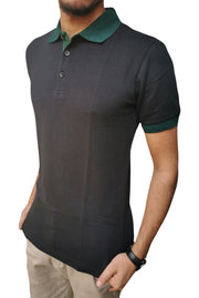 Men's Green Collar Half Sleeve Black Polo Shirt