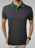 Men's Green Collar Half Sleeve Black Polo Shirt - Hillmarten