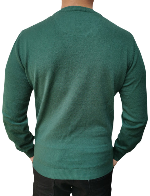 Men's Round Neck Green Sweater