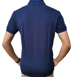 Men's Slim Fit Half Sleeve Navy Blue Polo Shirt - Hillmarten