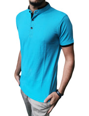 Men's Mandarin Collar Ocean Colour Polo Shirt
