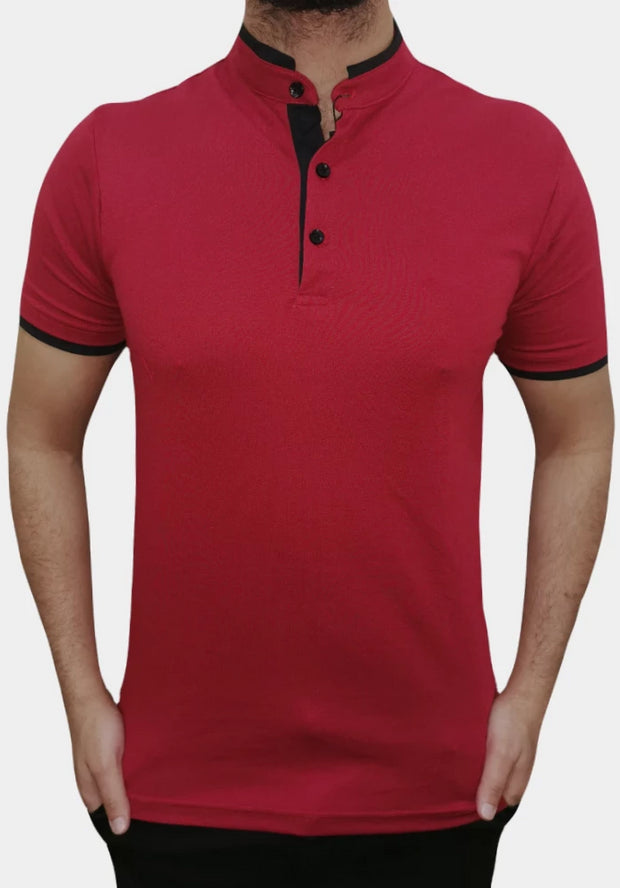 Men's Mandarin Collar Red Polo Shirt
