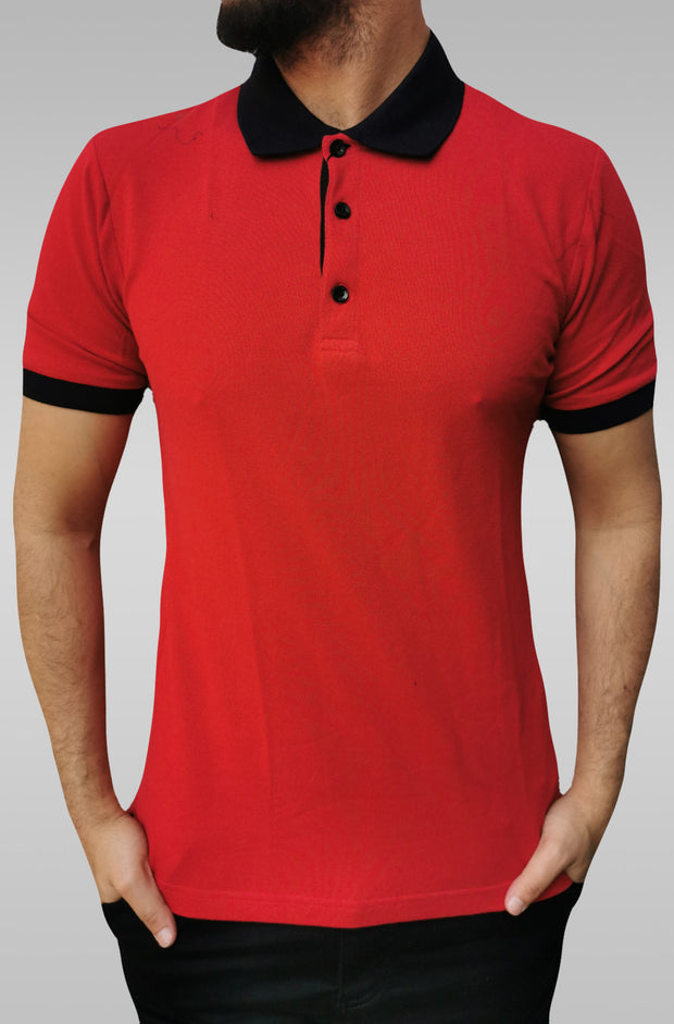 black t shirt with red collar