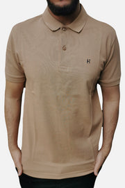 Men's Regular Fit Half Sleeve Light Brown Polo Shirt - Hillmarten