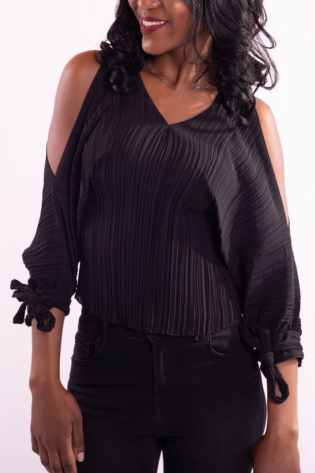Women Off Shoulder Black Blouse - Hillmarten