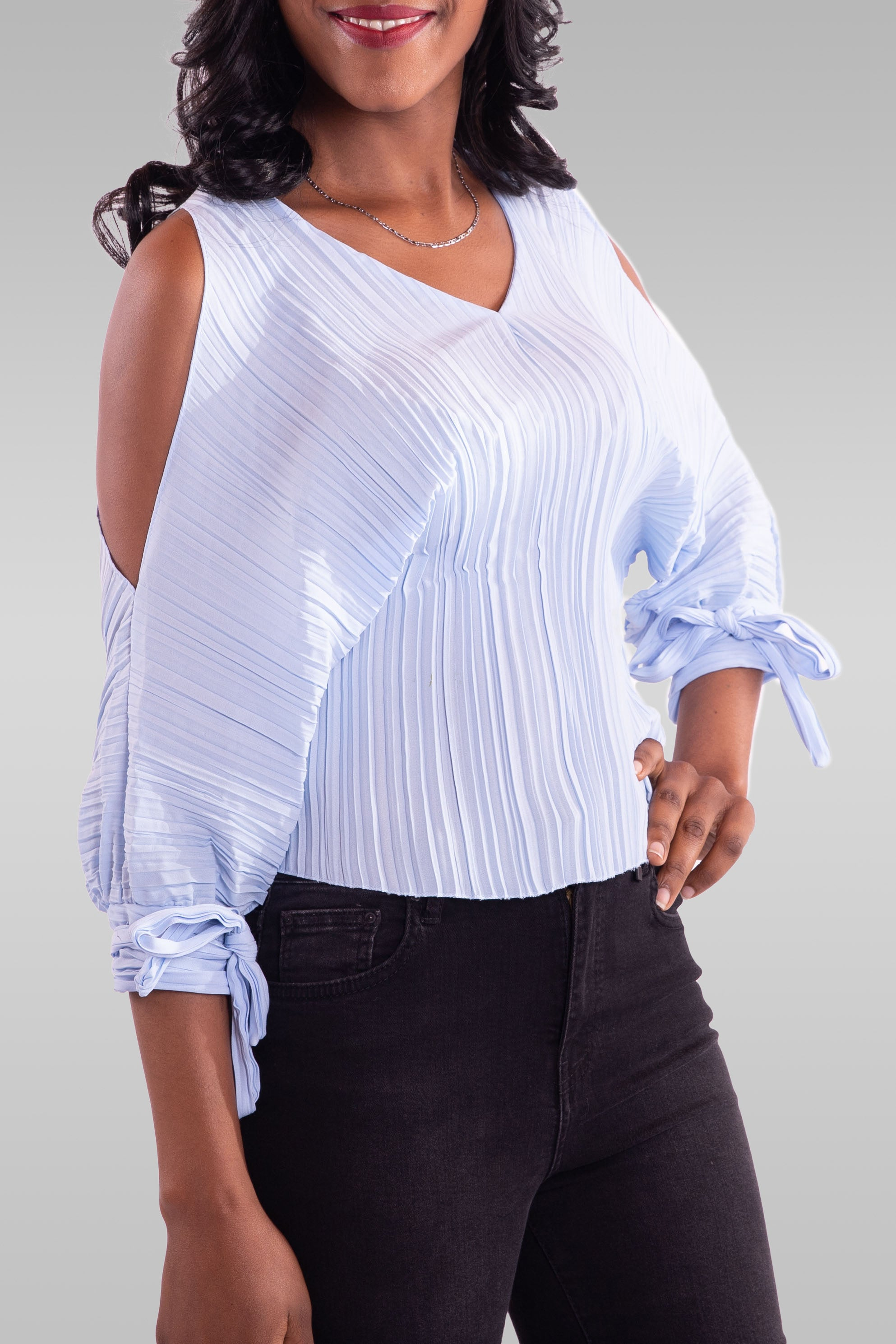Women Off Shoulder Blue Blouse - Hillmarten