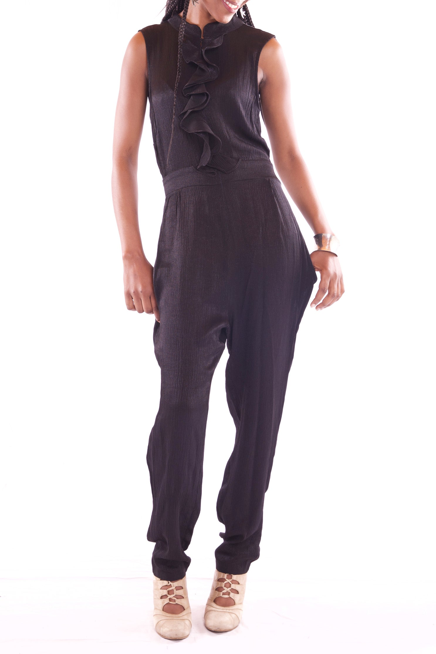 Women Sleeveless Maxi Black Jumpsuit - Hillmarten