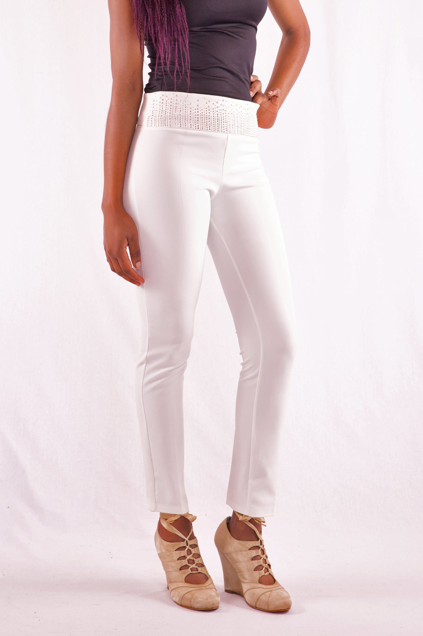 Women Slim Fit High Waist White Pant - Hillmarten
