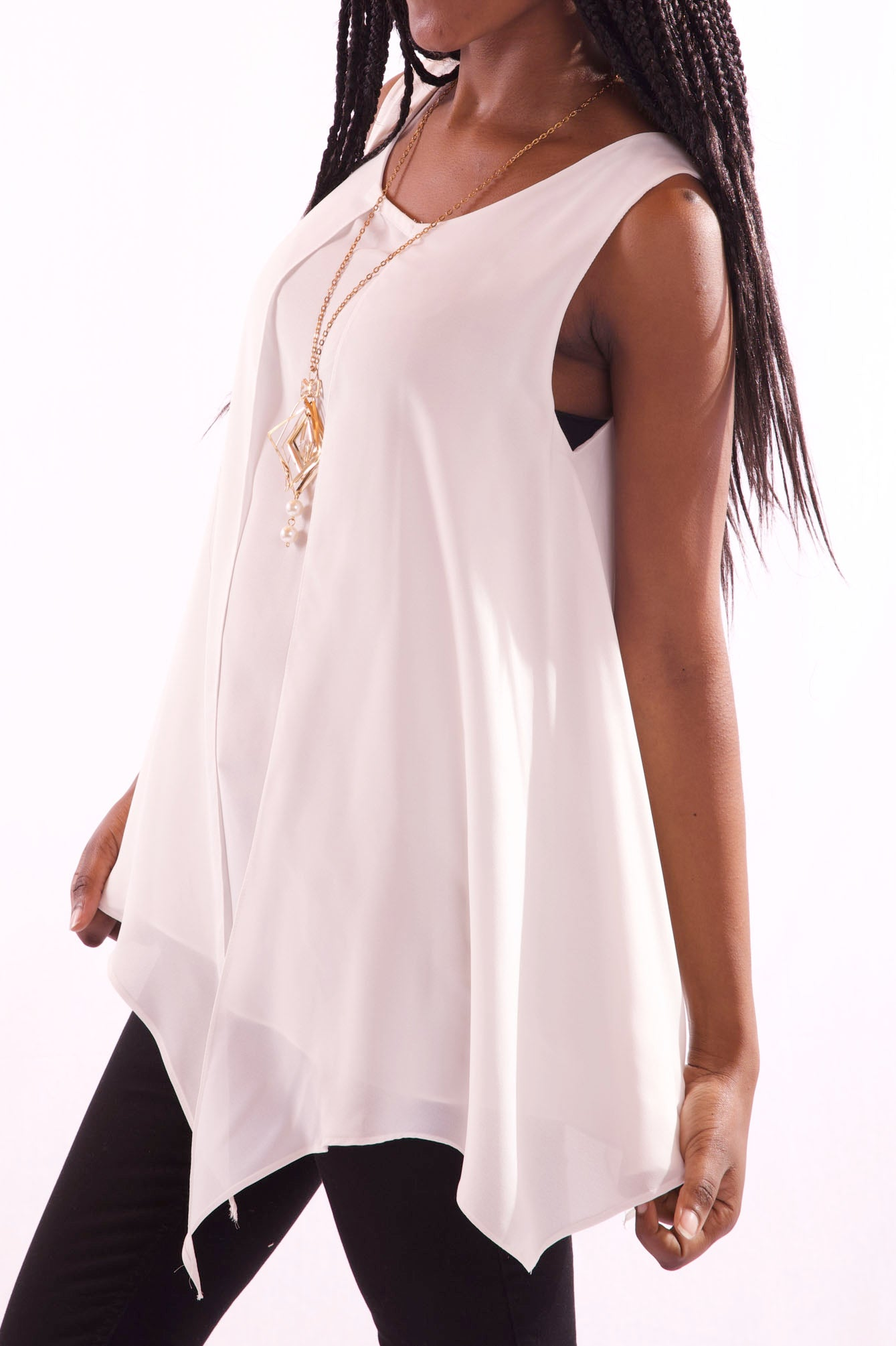 Women Round Neck Sleeveless White Blouse - Hillmarten