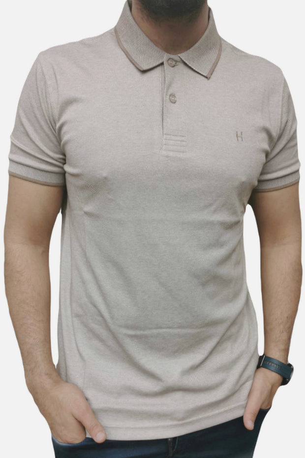 Men's Regular Fit Half Sleeve Light Brown Polo Shirt