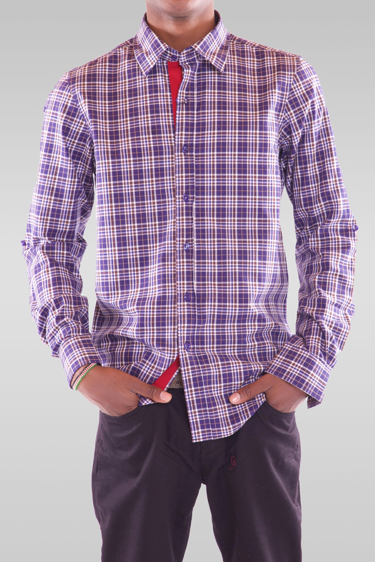 Men's Full Sleeve Purple Shirt - Hillmarten