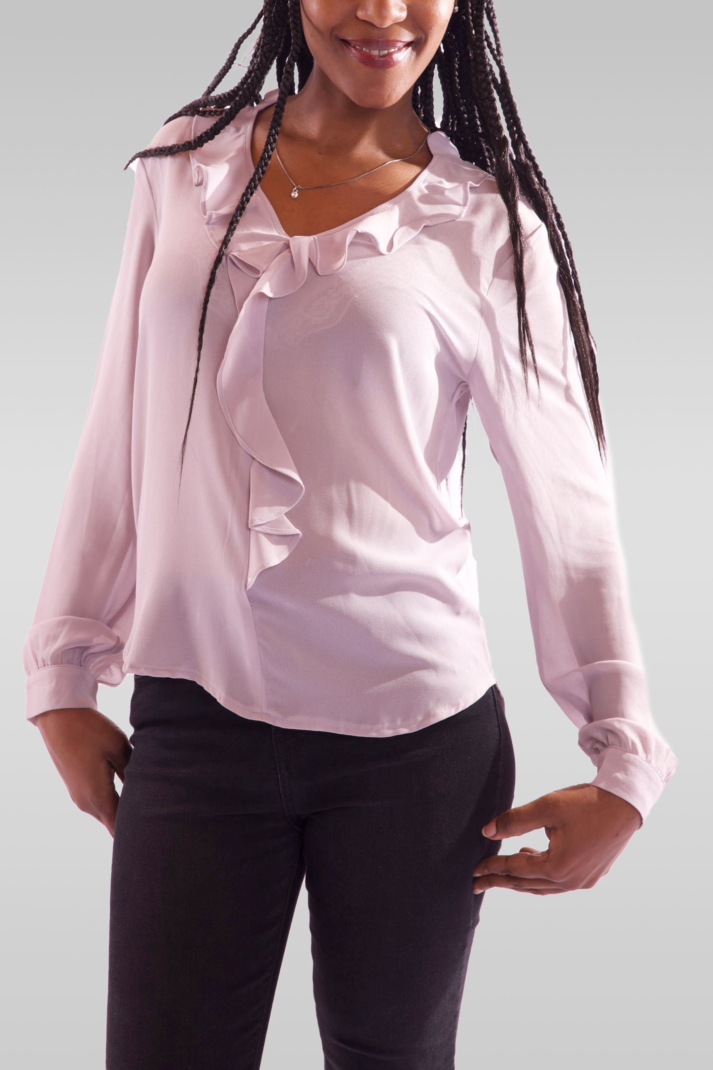 Women V-Neck Full Sleeve Grey Blouse - Hillmarten