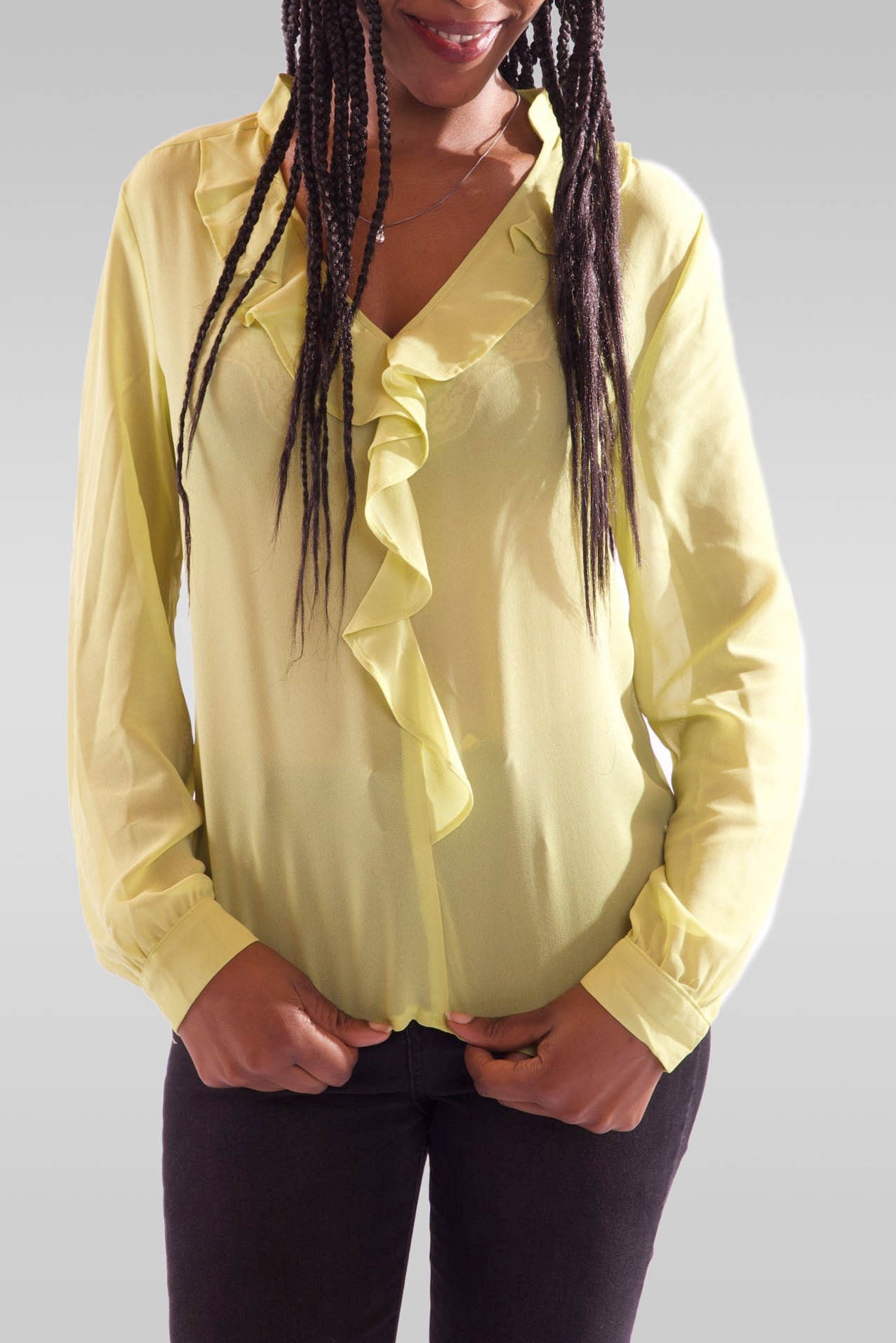 Women V-Neck Full Sleeve Light Green Blouse - Hillmarten