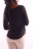 Women V-Neck Full Sleeve Black Blouse - Hillmarten