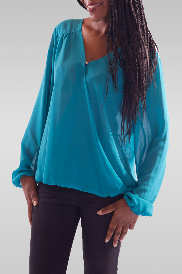 Women V-Neck Full Sleeve Greenish Blue Blouse