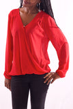 Women V-Neck Full Sleeve Red Blouse - Hillmarten