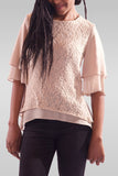 Women Half Sleeve Cream Colour Blouse - Hillmarten