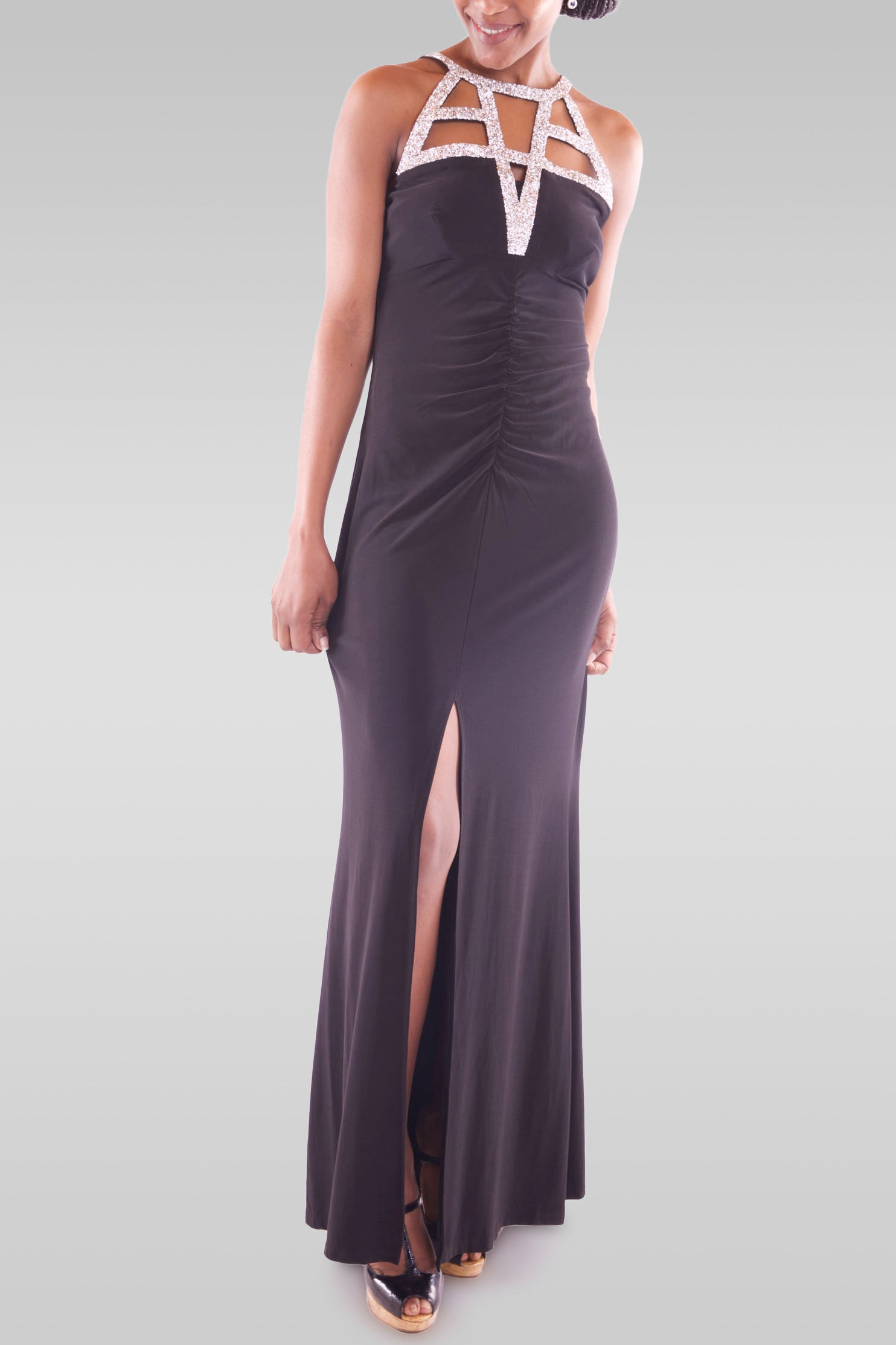 Women's Maxi Black Party Dress - Hillmarten